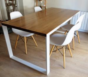 mesa comedor madera hierro